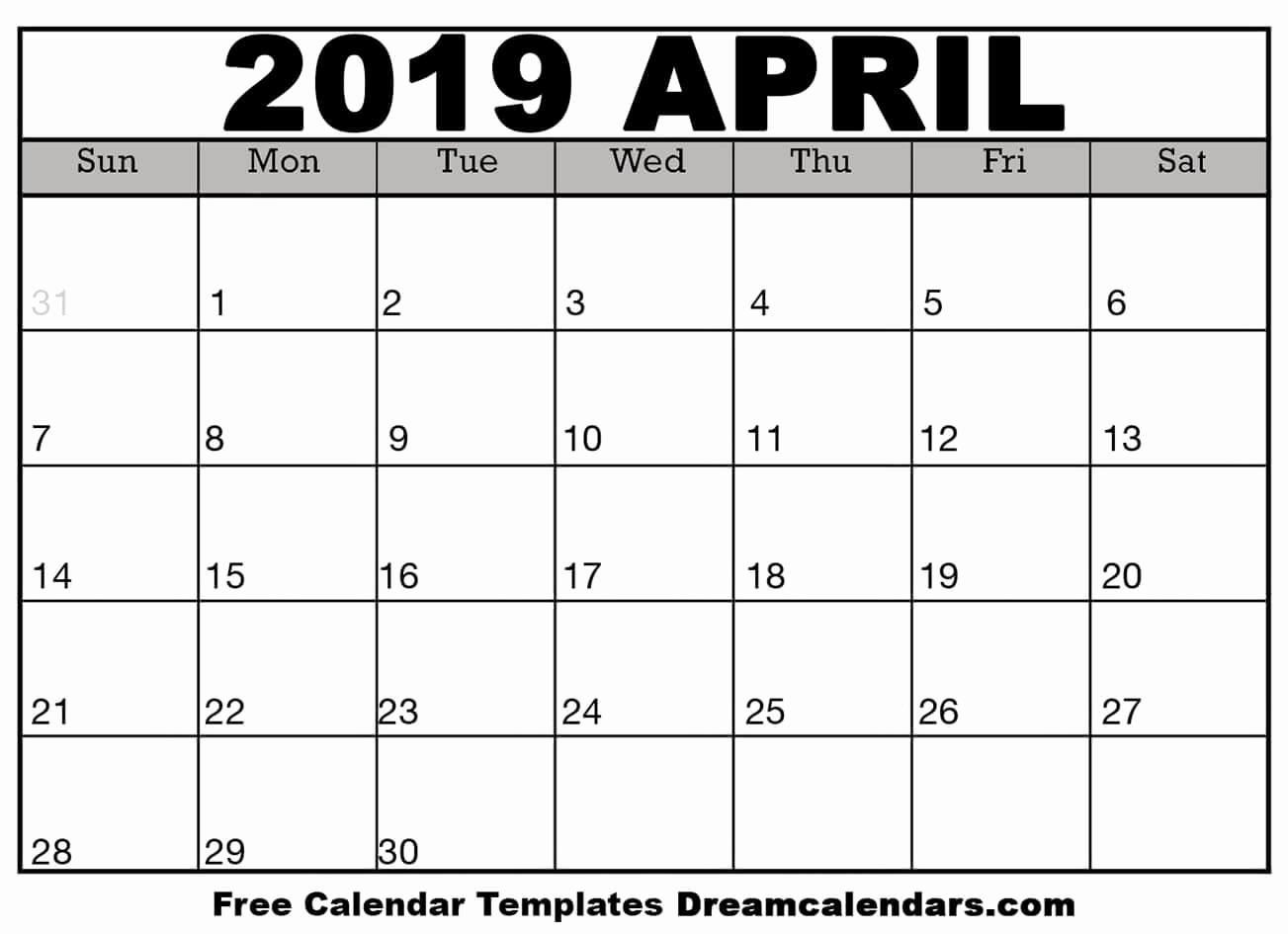Microsoft Calendar Templates 2019 Best Of Printable April 2019 Calendar