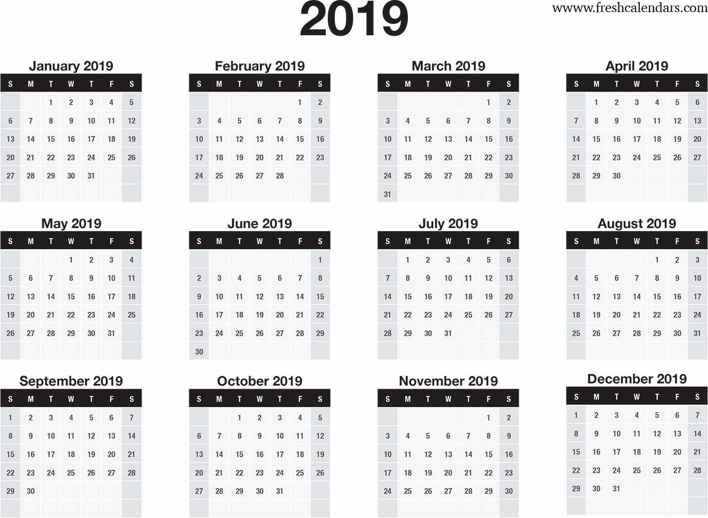 Microsoft Calendar Templates 2019 Elegant 2019 Calendar