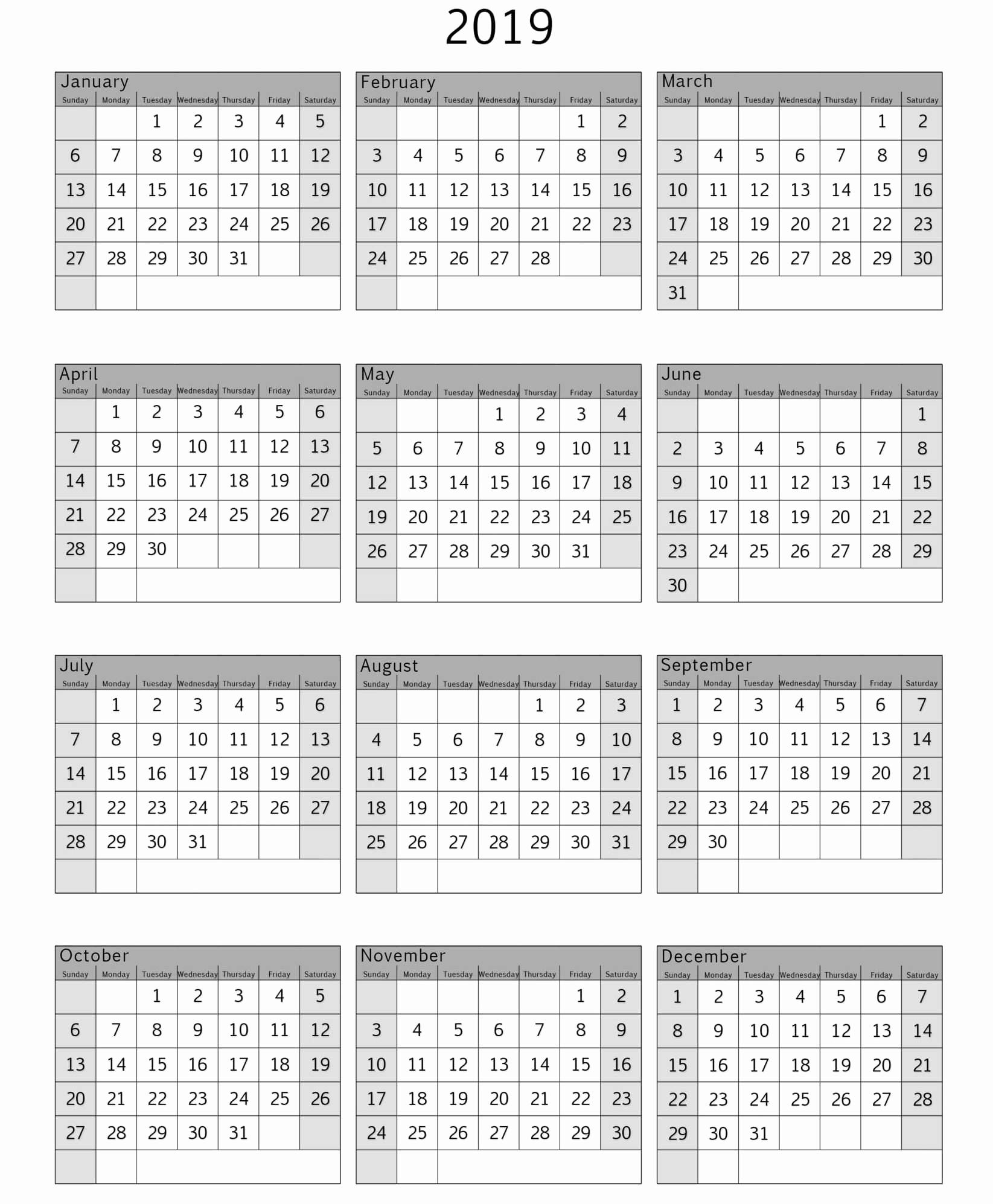 Microsoft Calendar Templates 2019 Lovely Free Printable 2019 Calendar Template