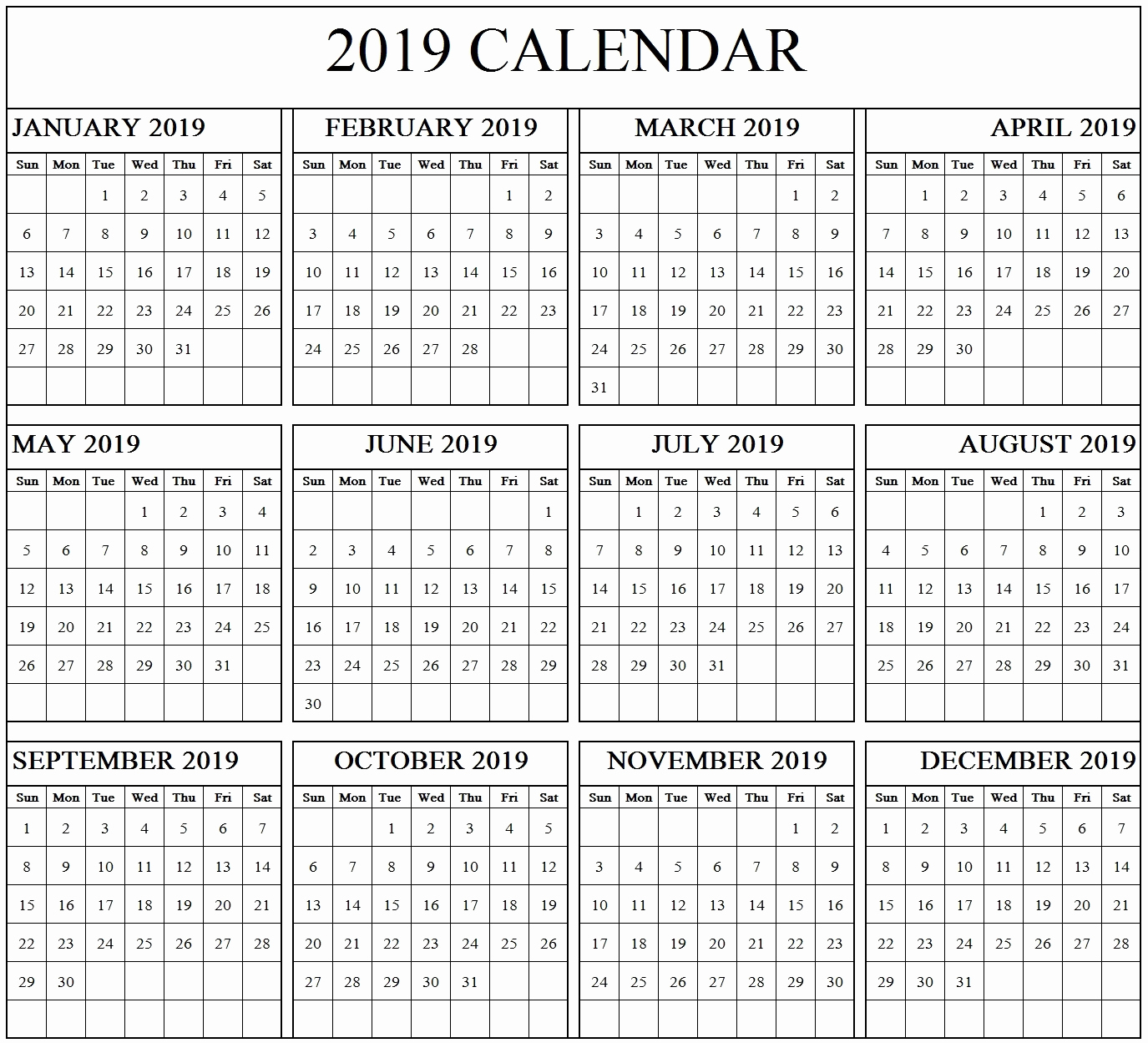Microsoft Calendar Templates 2019 Luxury Year Calendar 2019 Printable Pdf