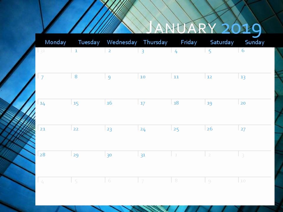 Microsoft Calendar Templates 2019 Unique 2019 Calendar Mon Sun