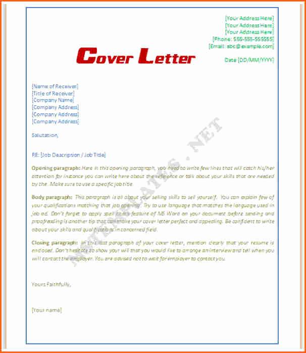 Microsoft Cover Letter Template Elegant 8 Microsoft Word Cover Letter Template Bud Template