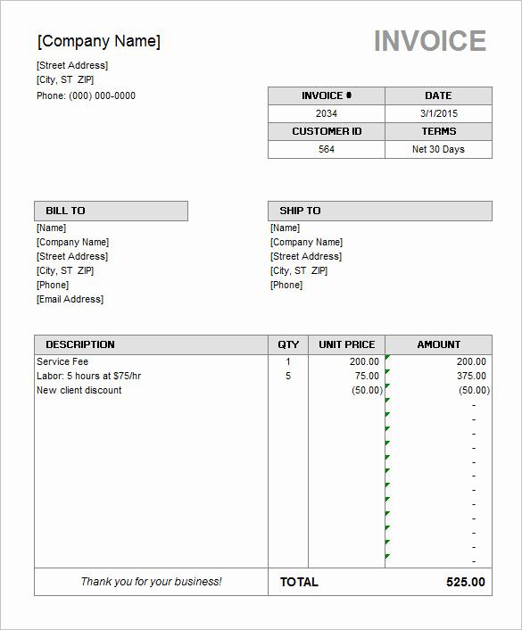 Microsoft Office Invoice Template Beautiful 60 Microsoft Invoice Templates Pdf Doc Excel