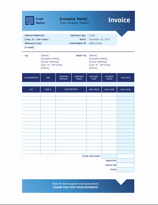 Microsoft Office Invoice Template Beautiful Sales Invoice Blue Gra Nt Design