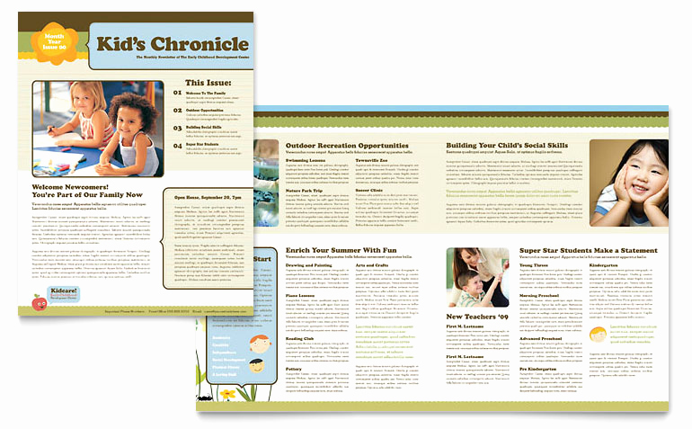 Microsoft Publisher Newsletter Templates Beautiful Child Development School Newsletter Template Word