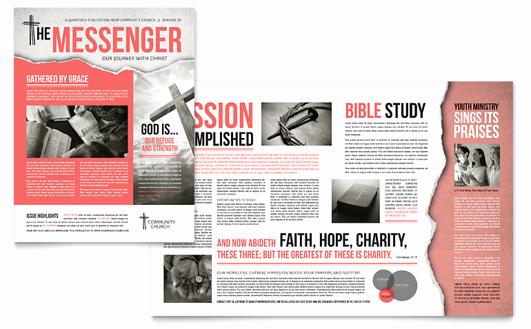 Microsoft Publisher Newsletter Templates Luxury Bible Church Newsletter Template Word & Publisher