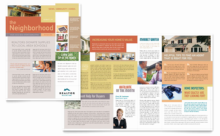 Microsoft Publisher Newsletter Templates Unique Realtor & Real Estate Agency Newsletter Template Word