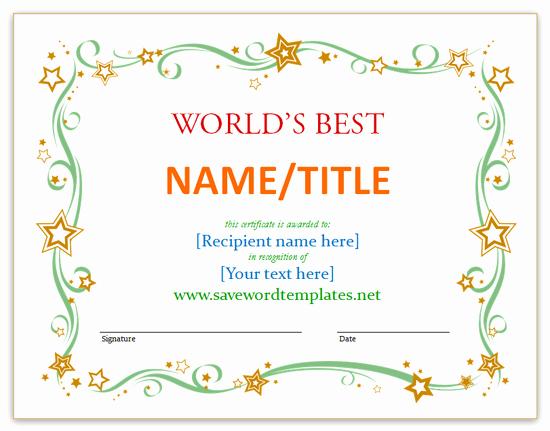 Microsoft Word Certificate Template Best Of Printable Gift Certificate Templates Microsoft Fice