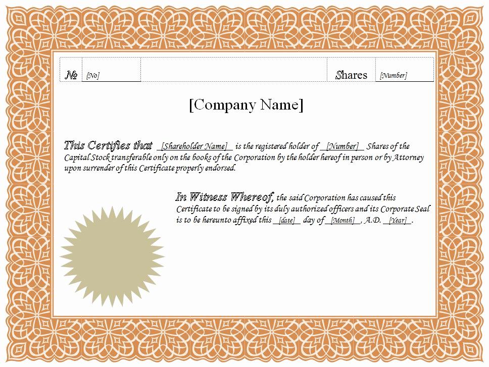 Microsoft Word Certificate Template Fresh Stock Certificate Template Microsoft Word