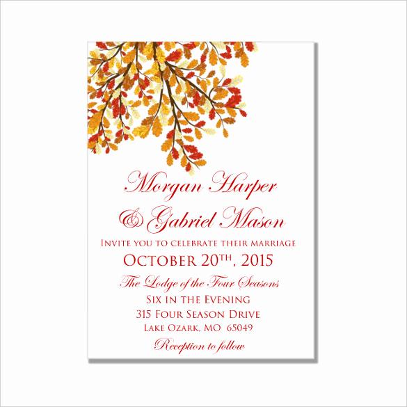 Microsoft Word Invitation Template Beautiful 26 Fall Wedding Invitation Templates – Free Sample