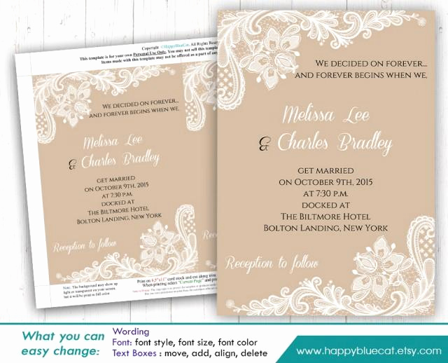 Microsoft Word Invitation Template Fresh Diy Printable Wedding Invitation Template Instant