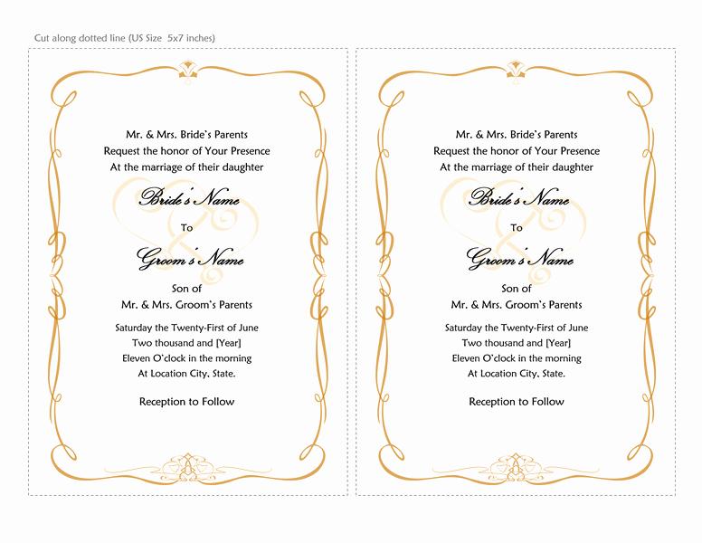 Microsoft Word Invitations Templates Luxury Microsoft Word 2013 Wedding Invitation Templates