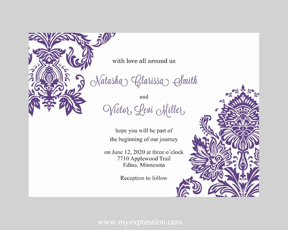Microsoft Word Invitations Templates Luxury Wedding Invitation Template Purple Damask Instant Download