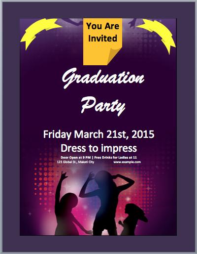 Microsoft Word Invitations Templates New Graduation Party Invitation Flyer Template – Microsoft