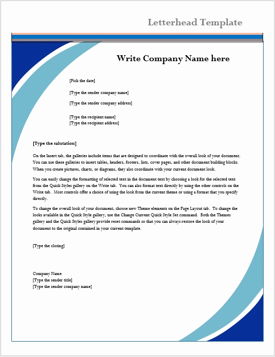 Microsoft Word Letter Template Elegant Letterhead Template – Microsoft Word Templates