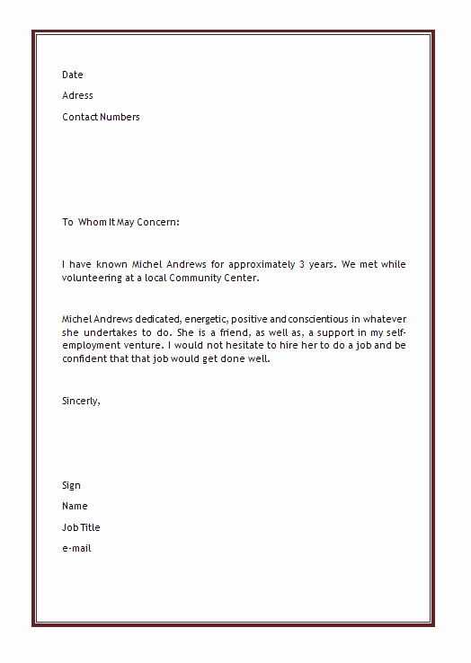 Microsoft Word Letter Template Elegant Personal Letter Of Re Mendation Template