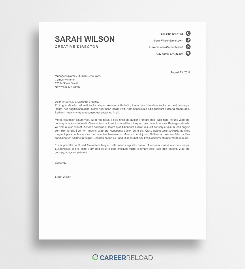 Microsoft Word Letter Template Inspirational Free Cover Letter Templates for Microsoft Word Free Download