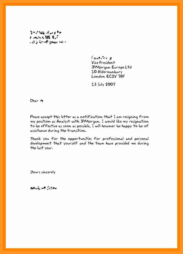 Microsoft Word Letter Template Unique 3 4 Resign Letter Uk