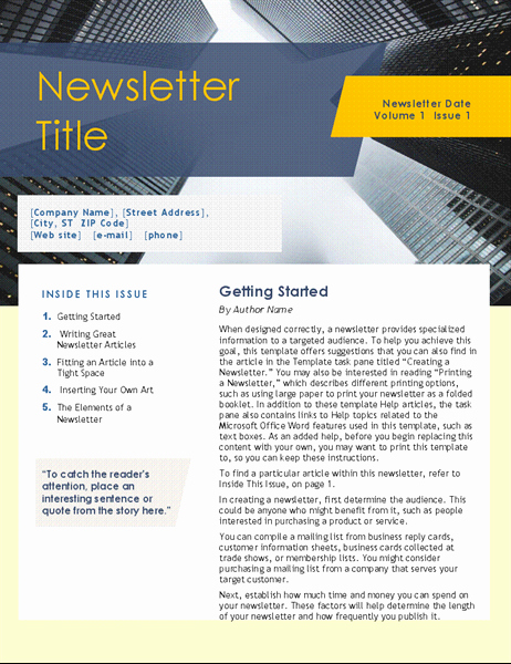 Microsoft Word Newsletter Templates Beautiful Newsletters Fice