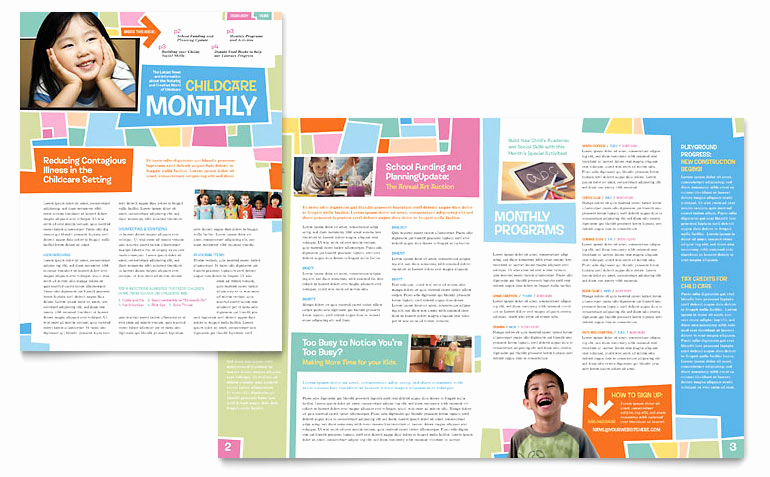 Microsoft Word Newsletter Templates Elegant Preschool Kids & Day Care Newsletter Template Word
