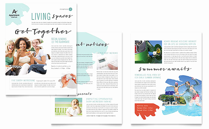 Microsoft Word Newsletter Templates Lovely Apartment Newsletter Template Word & Publisher