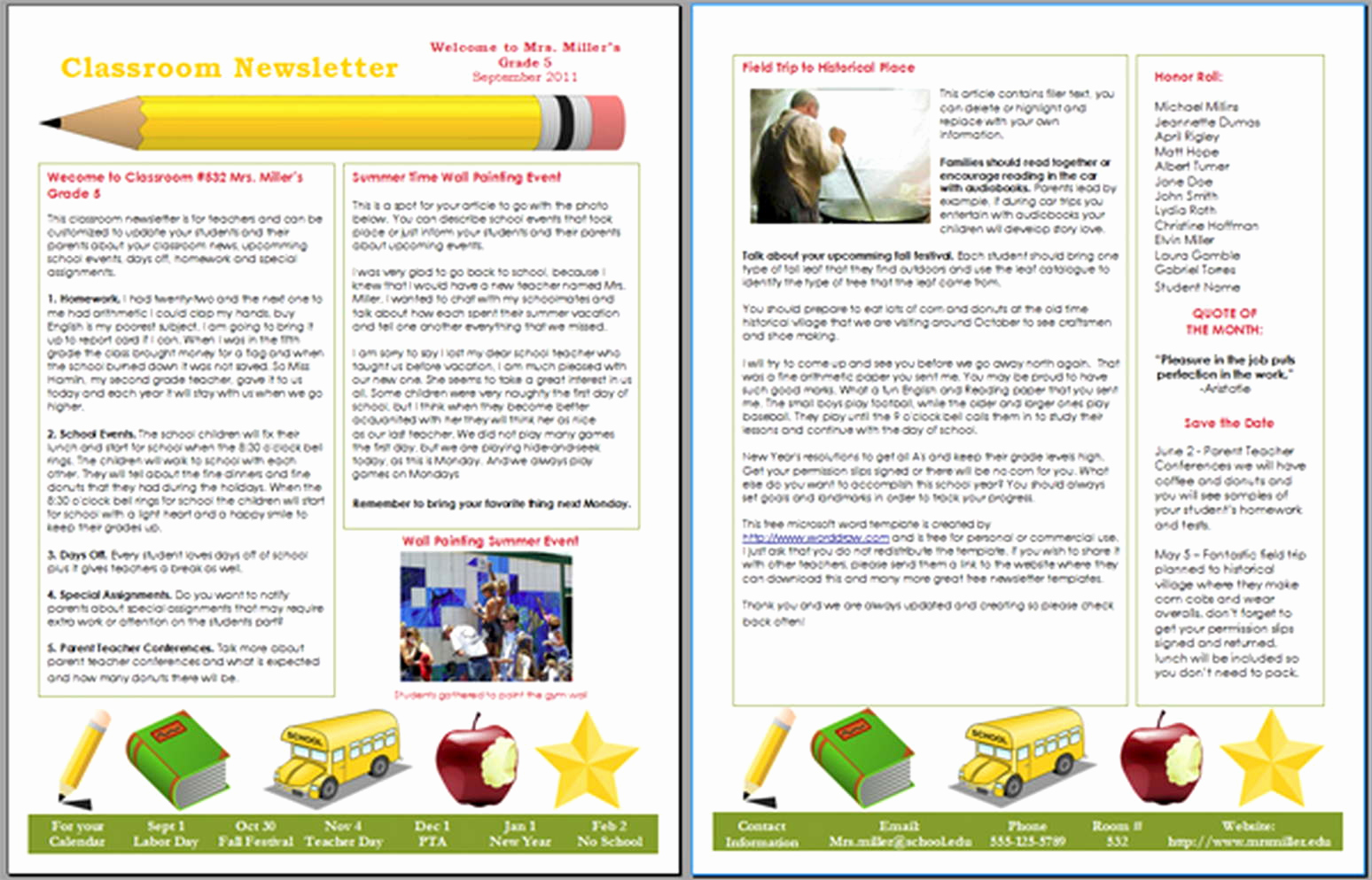 Microsoft Word Newsletter Templates Lovely School Newsletter Templates