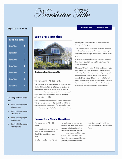 Microsoft Word Newsletter Templates New Real Estate Newsletter Template