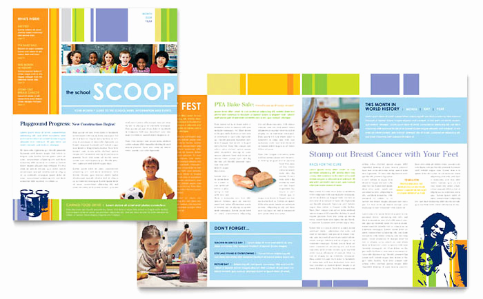 Microsoft Word Newsletter Templates Unique Learning Center & Elementary School Newsletter Template Design