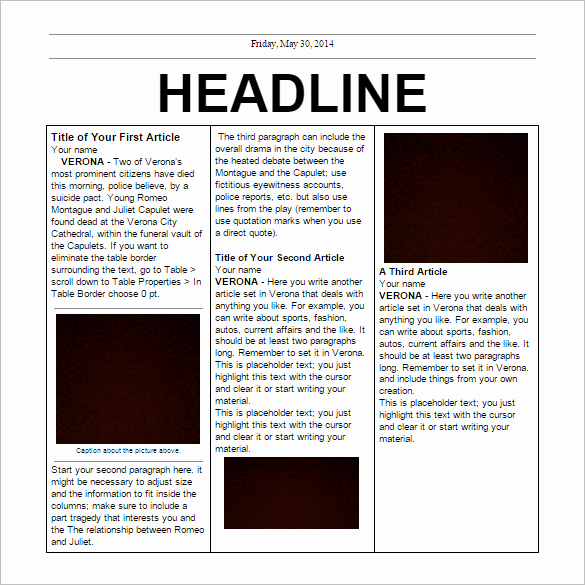 Microsoft Word Newspaper Template Best Of Free Newspaper Template