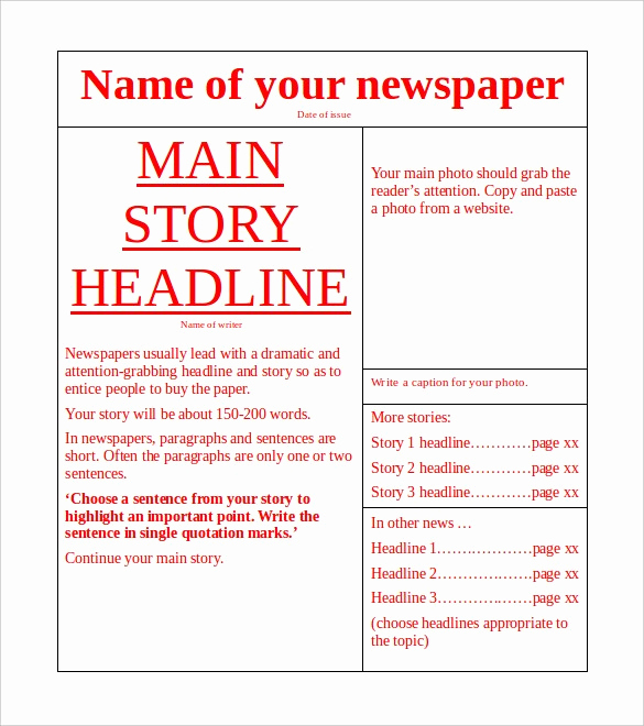 Microsoft Word Newspaper Template Inspirational Free Newspaper Template 10 Blank Google Docs Word