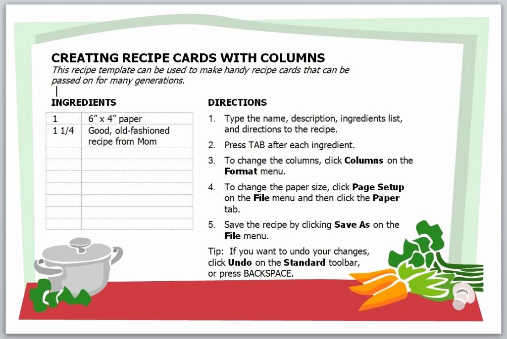 Microsoft Word Recipe Template Elegant Recipe Card Template