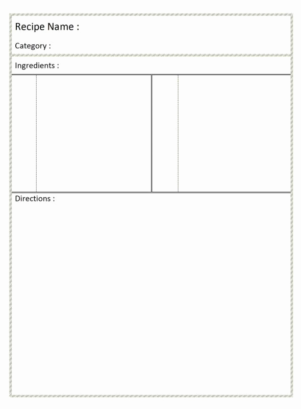 Microsoft Word Recipe Template Lovely Full Page Recipe Template for Word