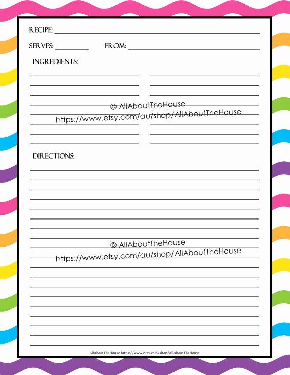 Microsoft Word Recipe Template New Editable Printable Recipe Card Template Pdf Sheet