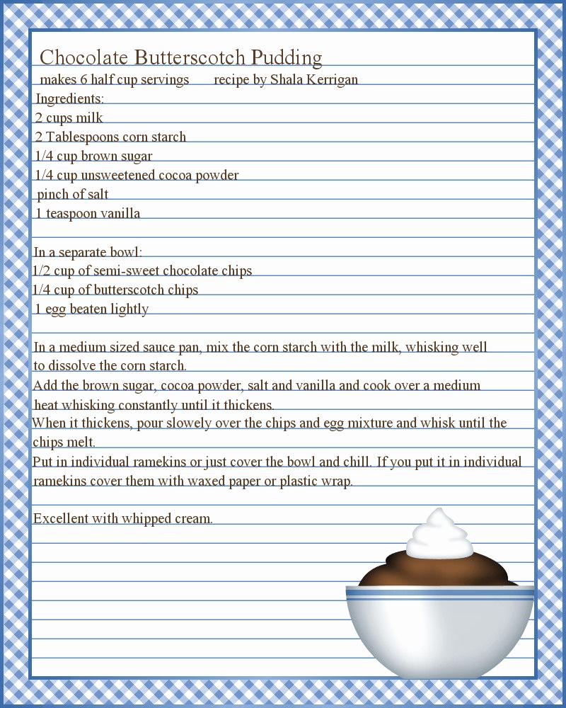 Microsoft Word Recipe Template Unique Don T Eat the Paste Pudding Recipe and Printable Recipe
