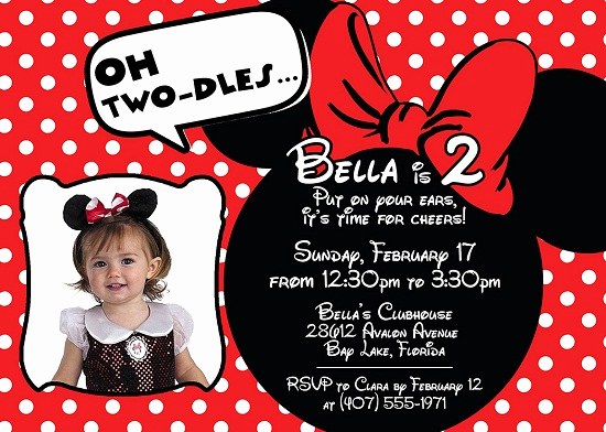 Minnie Mouse Birthday Invitations Awesome Red Minnie Mouse Birthday Invitations Ideas – Bagvania