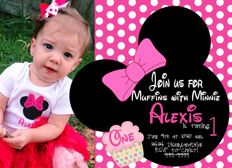 Minnie Mouse Birthday Invitations Beautiful Free Minnie Mouse First Birthday Invitations Printable
