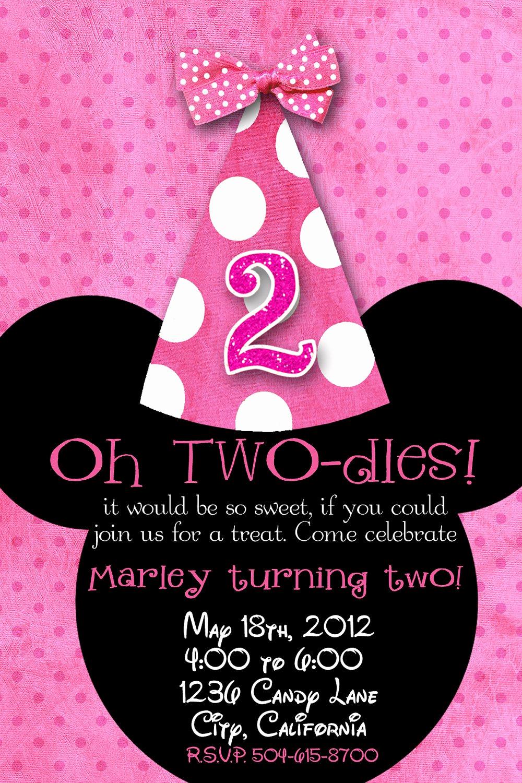 Minnie Mouse Birthday Invitations Beautiful Minnie Mouse 2nd Birthday Invitations