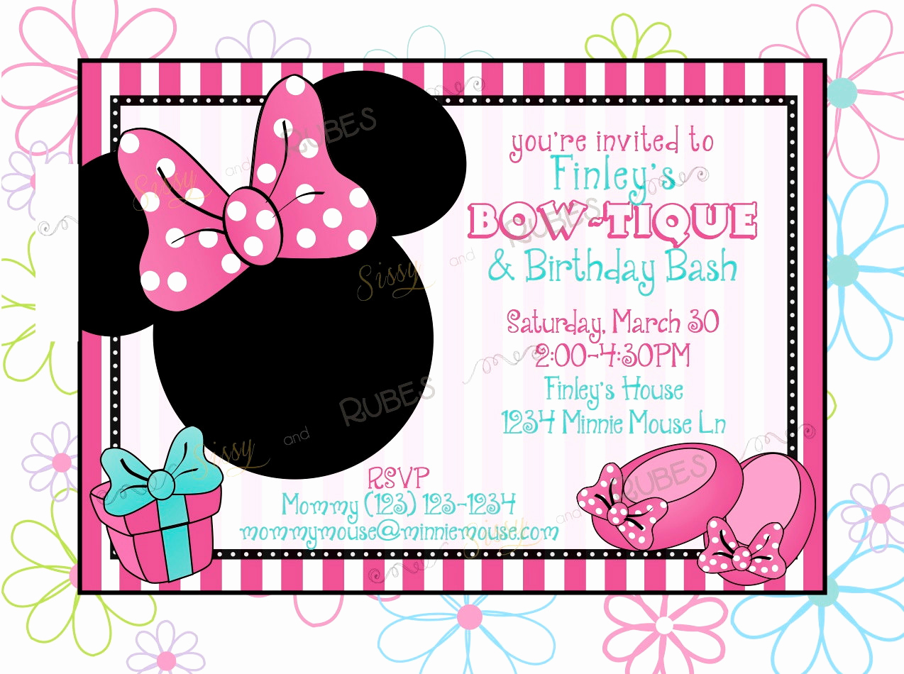 Minnie Mouse Birthday Invitations Best Of Items Similar to Minnie Mouse Inspired Birthday Invitation