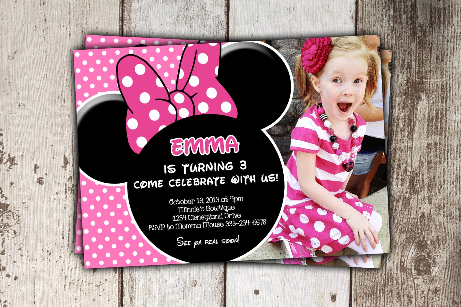 Minnie Mouse Birthday Invitations Best Of Minnie Mouse Invitations Pink Birthday Invitations with
