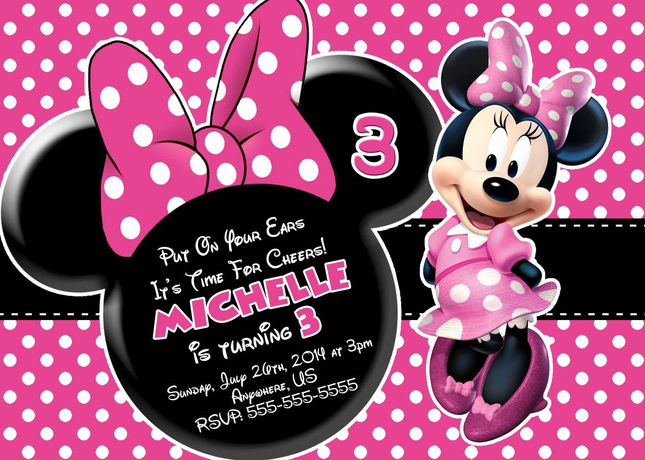 Minnie Mouse Birthday Invitations Fresh Pink Minnie Mouse Birthday Invitations