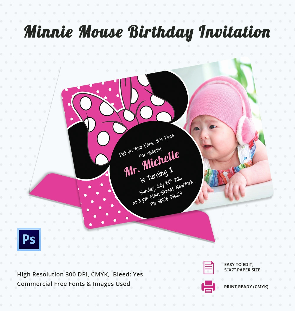 Minnie Mouse Birthday Invitations Inspirational Awesome Minnie Mouse Invitation Template 27 Free Psd