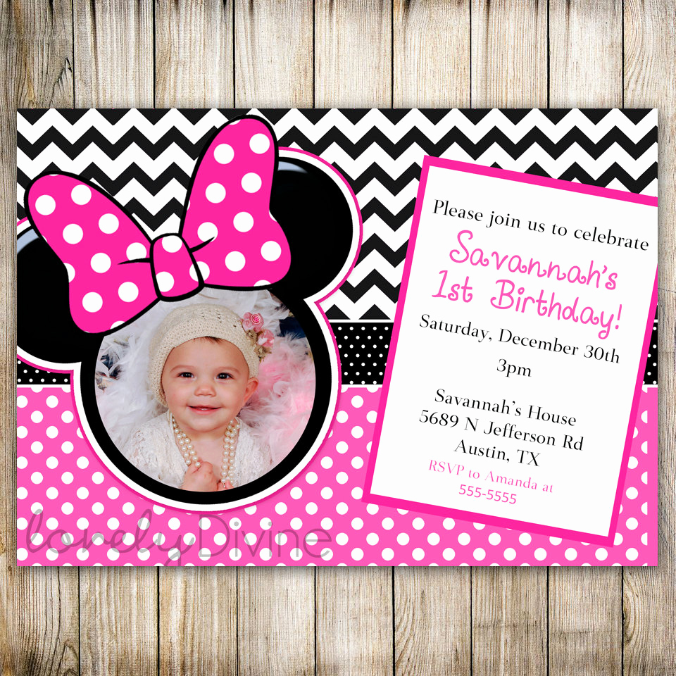 Minnie Mouse Birthday Invitations Lovely Minnie Mouse Chevron Birthday 1st Birthday Invitation 2nd
