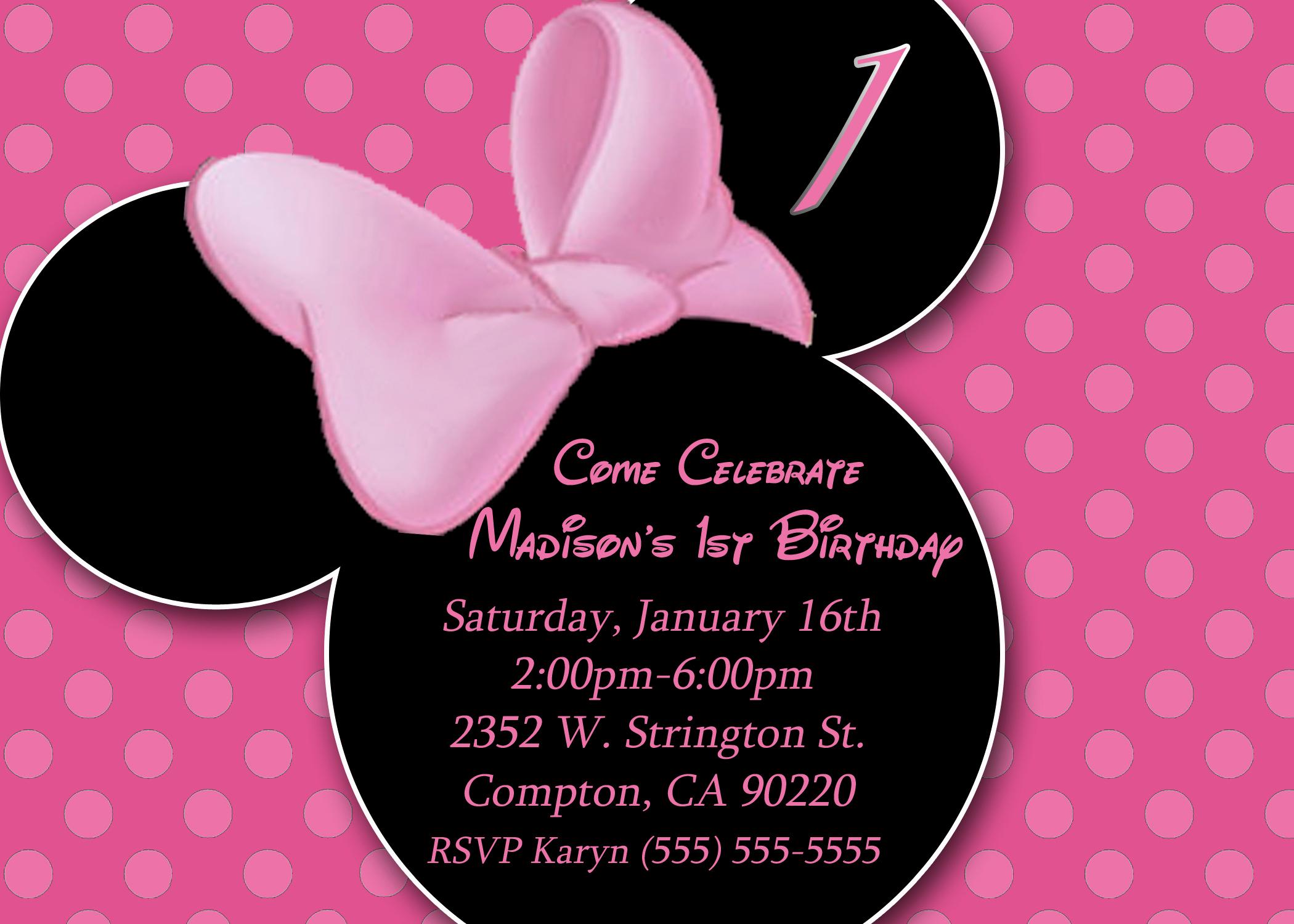 Minnie Mouse Birthday Invitations Luxury Minnie Mouse Birthday Invitation