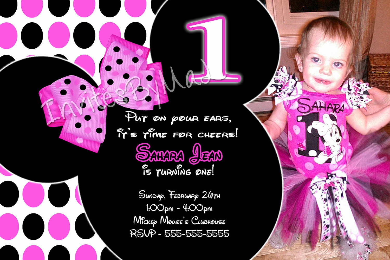 Minnie Mouse Birthday Invitations New Minnie Mouse Invitations 1st Birthday
