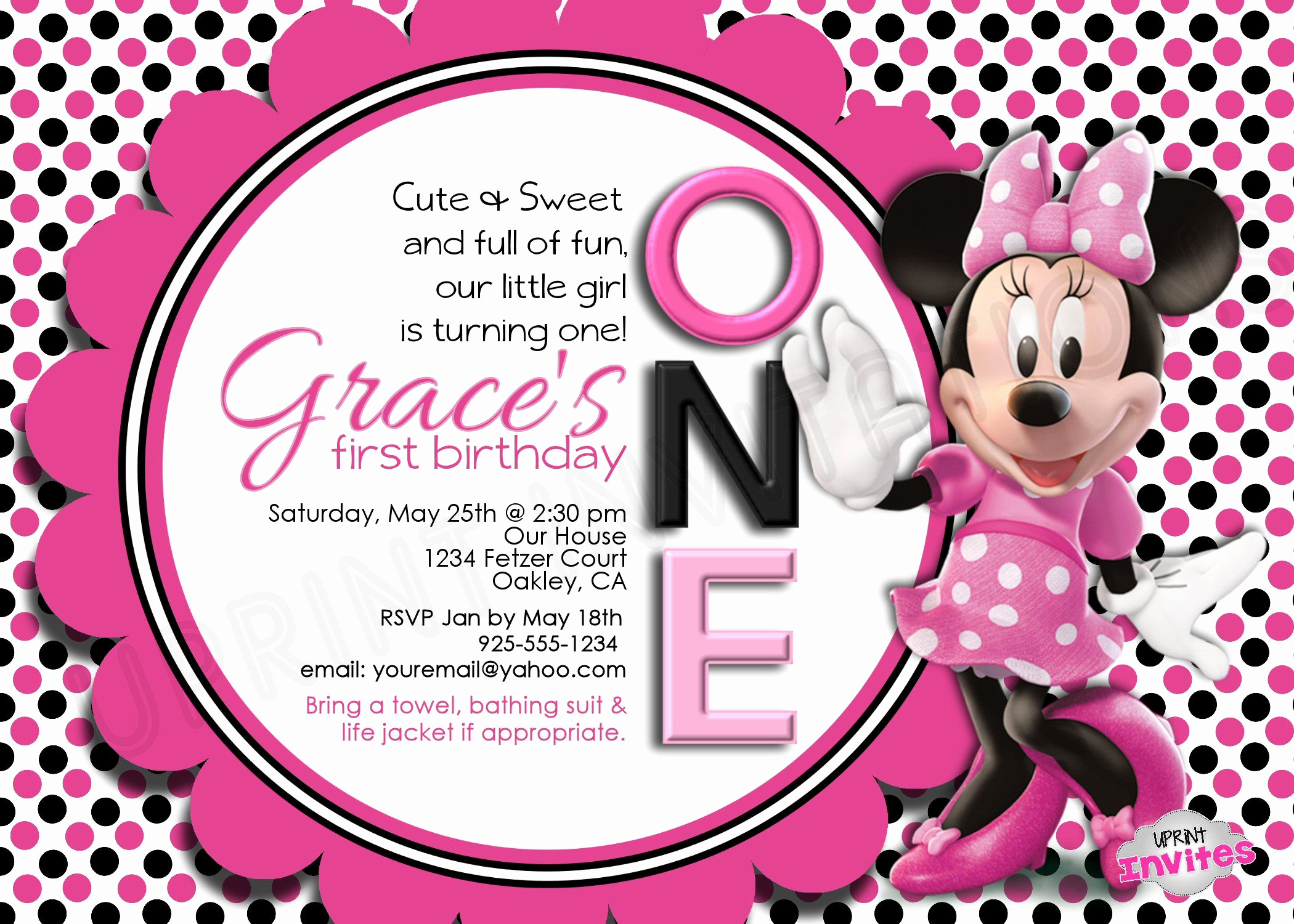 Minnie Mouse Birthday Invitations New Minnie Mouse Personalized Invitation
