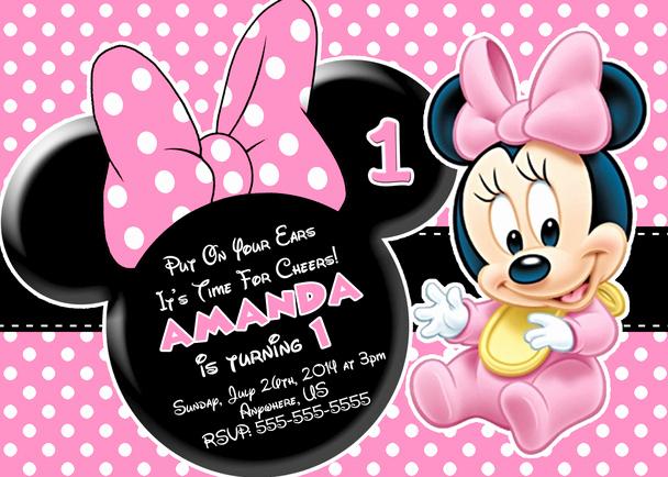 Minnie Mouse Birthday Invitations Unique Baby Minnie Mouse 1st Birthday Invitations