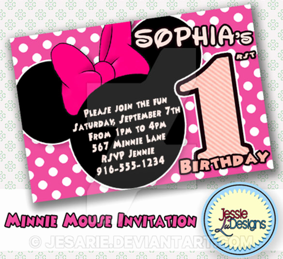 Minnie Mouse Invitation Template Awesome 26 Minnie Mouse Invitation Templates Psd Ai Word