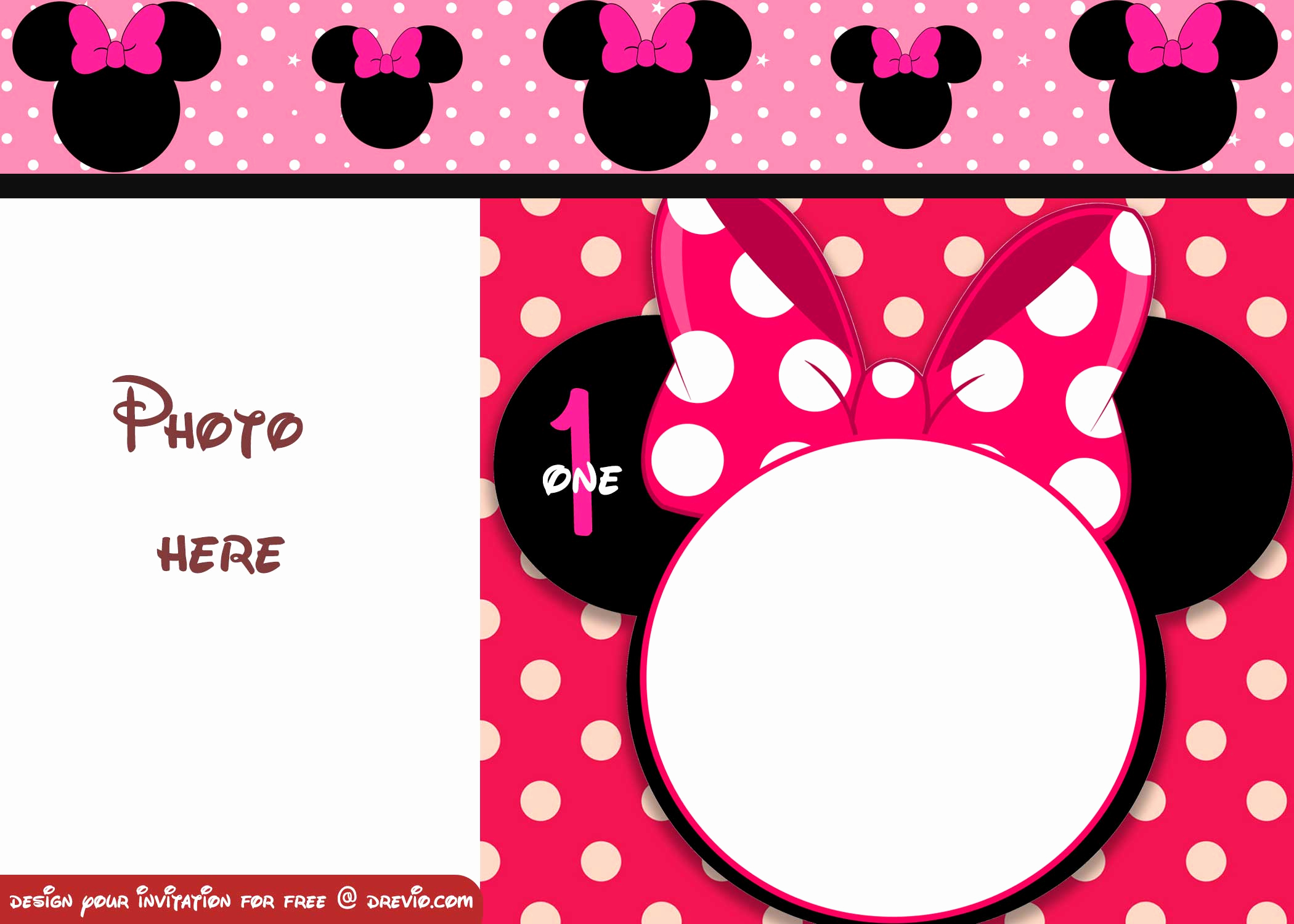 Minnie Mouse Invitation Template Awesome Free Minnie Mouse Polka Dot 1st Birthday Invitation