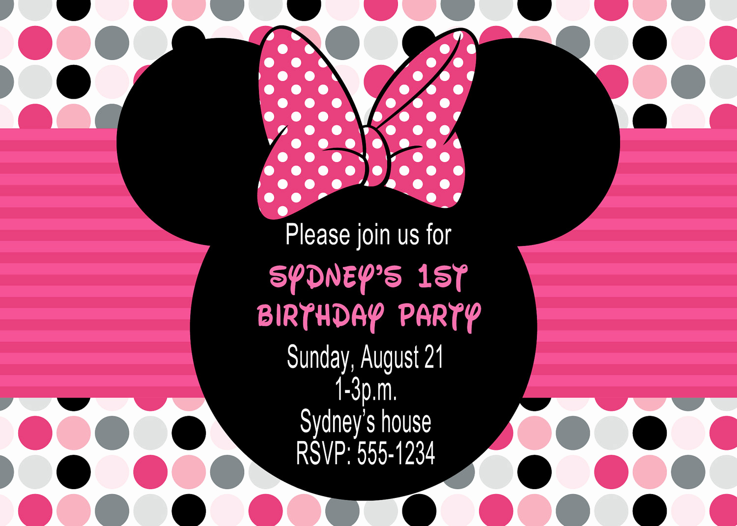 Minnie Mouse Invitation Template Beautiful Minnie Mouse Birthday Party Invitations