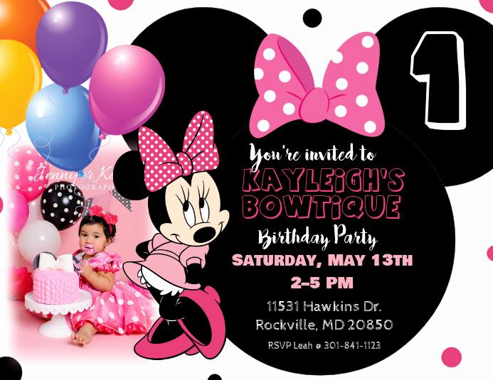 Minnie Mouse Invitation Template Luxury Minnie Mouse Birthday Invitation Template